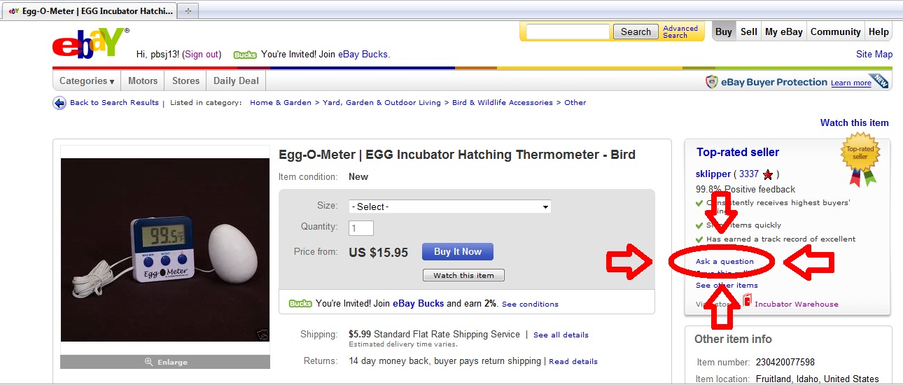 EBAY Contact Instructions